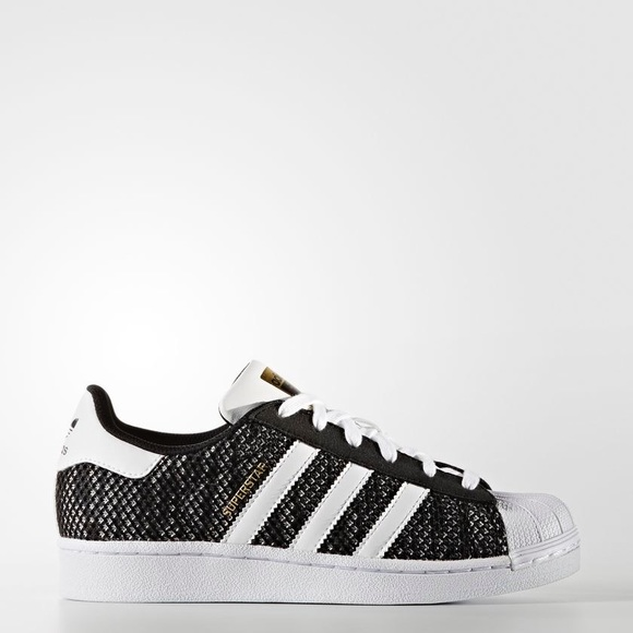 Superstar Adidas Shoes Black White Knit Mens Size 6.5 Womens